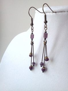 Amethyst and antique brass spike dangle earrings by PinkCupcakeJC, $8.00