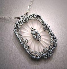 Antique glass art deco pendant
