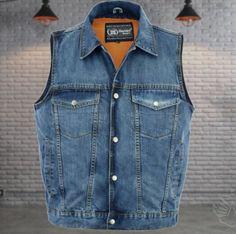 You can't go wrong with a Men's denim vest Steampunk Fashion, Gothic Fashion, Emo Fashion, Biker Vest, Smart Men, Toxic Vision, Band Merch, Gothic Dress, Latex Fashion