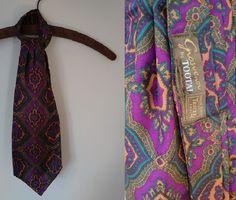 Vintage Purple Teal and Gold Paisley Wide Ascot Cravat