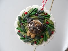 PUG christmas ornie by Raquel at the WRC hand sculpted polymer clay ORNAMENT Pet dog Lover