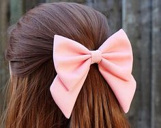 """4.5"""" pink hair bow, fabric hair bow with tails, big hair bow, solid color hair…"""