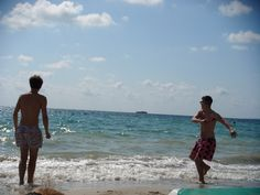 My red & blue rabbit print Vilebrequin swim shorts in Ibiza, Spain 2010
