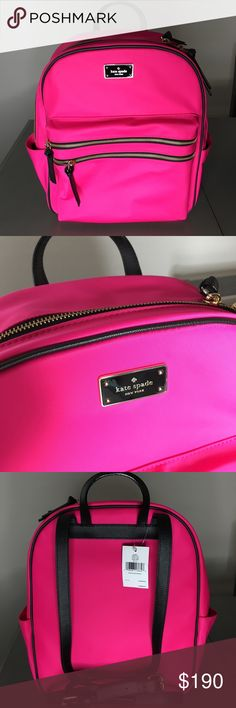 {NWT}Kate Spade Backpack Wilson Road Radish! Brand new with tags Kate spade backpack!  This is such a cute piece. It is hot pink with black leather straps & gold details. It features 2 small zipper pockets on the front & one big zipper pocket that has 2 pockets inside and a built in laptop holder!  This backpack is perfect and on trend for the spring & summer season & would make an EXCELLENT travel bag. kate spade Bags Laptop Bags
