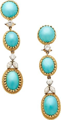 Turquoise, Diamond, Gold Earrings, Cellino The earrings feature round and oval-shaped turquoise cabochons, - Available at 2014 December 9 - 10 Holiday. Ruby Jewelry, Stone Jewelry, Jewelery, Silver Jewelry, Silver Rings, Antique Jewelry, Vintage Jewelry, Pierre Turquoise, Estilo Fashion