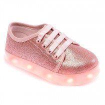 32fe3f7c99 Tênis Luz Led Infantil Pimpolho Cano Baixo Glitter Rosa