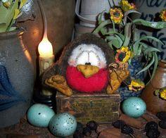 Primitive Spring Easter Robin Bird Canary Doll Patti's Ratties Bear Artist OOAK