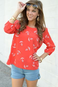 This anchor print blouse is so breezy and light it definitely won't hold you down! We love the slight scoop neckline.