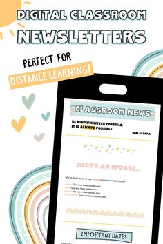 """These """"sunshine and rainbows"""" digital classroom newsletters are perfect for distance learning and beyond! They are editable, mobile-friendly, and very flexible. Download includes PowerPoint, Google Slides, and MailChimp templates. >> Fast and easy parent communication! #distancelearning #paperlessclassroom #hybridteaching #classroommanagement #teachingtips Newsletter Format, Classroom Newsletter Template, Newsletter Templates, Teaching Tips, Learning Resources, Teacher Resources, Student Of The Week, Star Students, Technology Lessons"""