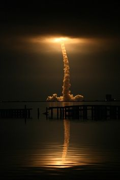 Spectacular night shuttle launch in 2008.
