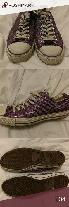 Converse Limited Edition Purple Glitter Sneakers These limited edition Converse All Star sneakers are available to you! These were worn twice, and do have some slight fraying (my feet were slightly too large for these!)  These sneakers have a super fun purple glitter coloring all-around, and they do sparkle in the light!  Great for concerts, everyday eye-catching, and a cute piece to your future wardrobe! Converse Shoes Sneakers