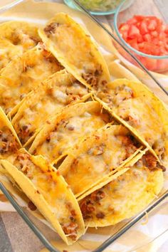 Oven Baked Beef Tacos in a casserole dish Oven Baked Tacos, Baked Tacos Recipe, Baked Chicken Tacos, Rotisserie Chicken Oven, Oven Chicken, Meat Recipes, Mexican Food Recipes, Cooking Recipes, Mexican Dishes