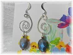 Dangle Hand Crafted Earrings with Labadorite by ChicArtistique, $14.00