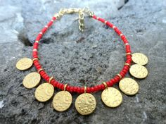Sultans signature bracelet in red ottoman jewelry by Handemadeit