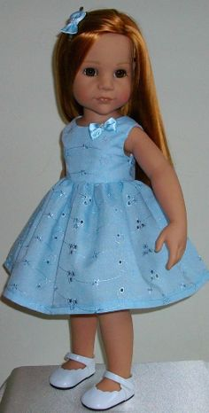 "Blue broderie anglaise dress & hair slide 18-20"" Dolls Designafriend/Gotz hannah"