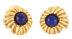Pair of Gold and Lapis Earclips, Tiffany & Co., 18kt gold, signed.