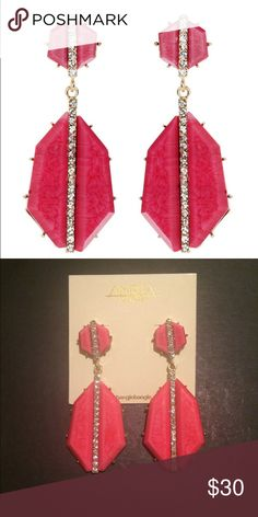 Amrita Singh Art Deco Earrings Authentic, Amrita Singh Art Deco Earrings. New and never worn. These elegant earrings were inspired by the roaring 20's! Architectural fuschia resin stones are embellished with a strip of clear Austrian crystals running down the center, with gold tone prong settings. For pierced ears. Open to reasonable negotiations. Amrita Singh Jewelry Earrings