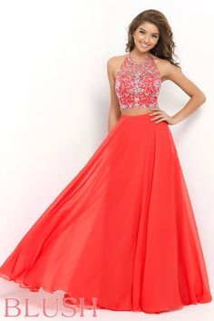 Blush Prom Dress Style 9935. This Persimmon two piece gem features a halter style bra back crop top intricately beaded with AB stones and clear crystals. The high waist chiffon skirt is floor length, and fabulous. Come see us at Rubie&Jane in Lufkin, TX for Prom 2015!