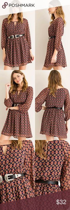 ✨NEW✨Mandala Print Blouson Dress Elasticized Dress Mandala print blouson dress featuring elasticized waist.  Round neckline with cutout on bust.  Keyhole on back with button closure and full lining.    Navy Combo.   100% Polyester.   Size-S,M,L classic Paper Doll Dresses Mini