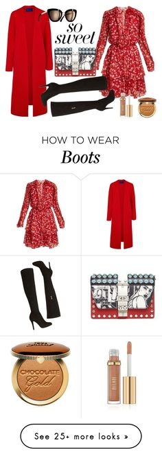 """Red&Black"" by nejla1996 on Polyvore featuring Raquel Diniz, Prada, Winser London, Karen Millen, Too Faced Cosmetics, look, Chanel, booties and redcarpetstyle"