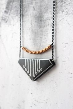 Black geometric necklace for her  triangle minimal tribal polymer clay pendant unique Christmas gifts jewelry by AnankeJewelry
