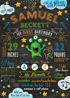 Chalkboard Poster Sign Monster First Birthday Party Baby Milestone 1st Birthday Infographic Digital Poster