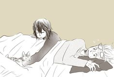 Headcanon: Shouta used to sleep over at Hizashi's house and Hizashi's family owned cats. shouta would never actually sleep...he'd play with the cats instead...