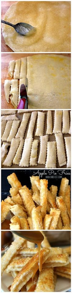 """APPLE PIE FRIES- 1 Package of Pillsbury Refrigerated pie Crust ct. cups of Apple Pie Filling 1 Egg Sparkle Sugar for sprinkling. """"Salt"""" Caramel Sauce and/or Ice Cream for dipping A food processor. A decorative edge roll-cutter Yummy Treats, Sweet Treats, Yummy Food, Tasty, Apple Recipes, Sweet Recipes, Just Desserts, Dessert Recipes, Dessert Healthy"""