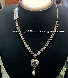 Latest Indian Gold and Diamond Jewellery Designs: Simple Diamond necklace design