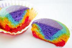 easy rainbow cupcakes.