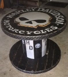 Wooden Spool Harley Davidson Table