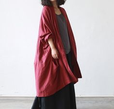 Linen long coat,asymmertric jacket for women,irregular linen cardigan,fashion gown,trench coat,plus size clothing,bust no limited