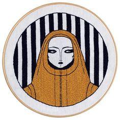 Look Around, 2014 Desenho bordado à mão sobre linho montado em bastidor de madeira (25 x 25 cm)  #handmade #drawing #embroidery #art #leandrodario