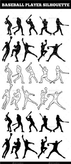 Baseball Player Silhouettes - Sports/Activity Conceptual #baseballhacks