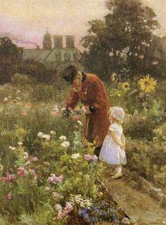Irish Painter: Rose Barton (1856 – 1929) -- 'Grandpa's Garden'