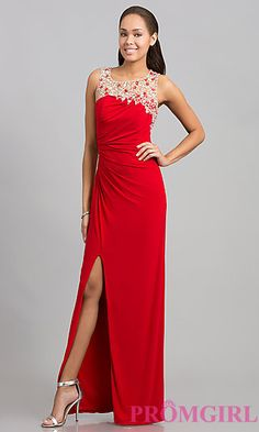 Sleeveless Floor Length Ruched Dress at PromGirl.com
