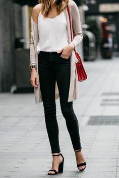 Fashion Jackson, Street Style, Beige Long Cardigan, Club Monaco White Cami, Black Skinny Jeans, Saint Laurent Nano Sac De Jour Red, Steve Madden Carrson Black Ankle Strap Heels