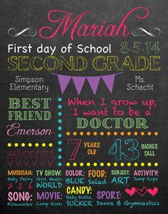 First Day of School \ Last Day of School Printable Chalkboard style First Day of School Sign - Girl or boy - all their favorites, what they want to be when they grow up, age, height, best friend... add anything you want!