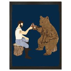 Bear & Lumberjack have decided to put aside their differences and enjoy a cold one. Crack open a shower beer and hang out with the crew; maybe you'll find out what the feud is about! Funny Shower Curtains, Colorful Shower Curtain, Ultimate Man Cave, Funny Bears, Bear Illustration, Man Cave Home Bar, Bear Art, Memory Foam, Tapestry
