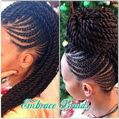 Cornrows & twists...so cute! Try this with dark red/auburn extensions