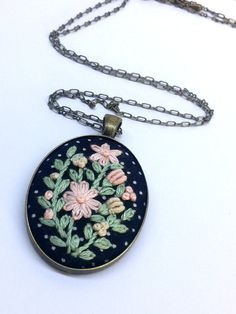 Pink Flower Necklace Hand Embroidered Necklace by RedWorkStitches