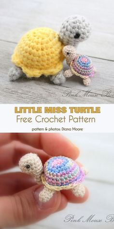 Little Miss Turtle free crochet pattern # crochet pattern . - Carola - Little Miss Turtle free crochet pattern – # Häkelanleitung - Crochet Animal Patterns, Stuffed Animal Patterns, Crochet Patterns Amigurumi, Crochet Dolls, Knitting Patterns, Crochet Turtle Pattern Free, Easy Crochet Animals, Cat Amigurumi, Knitted Animals