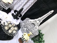 Traditional Dessert Table in Black and White (Paris Theme)