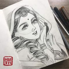 Portraits by Huta Chan Easy Pencil Drawings, Dark Art Drawings, Girly Drawings, Drawing Art, Disney Pencil Drawings, Pencil Sketches Of Girls, Mandala Drawing, Couple Drawings, Drawing Faces