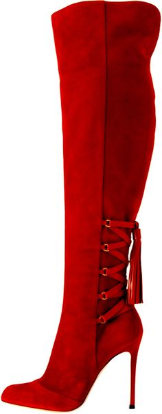 GIANVITO ROSSI                                                                                                                          Red Thigh High Boots                                                                                                                          ᖽ•Ꮰ੬ℕട❜̋ᗷѳꂷɬίǪṳ̈ℯ•ᖾ