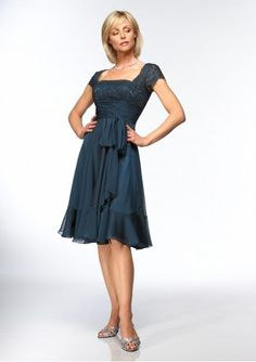 Chiffon Straight Neckline with Short A line Skirt Mother of Bride Dress