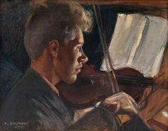 'Fiddler' by Pekka Halonen, 1905. Oil on canvas.
