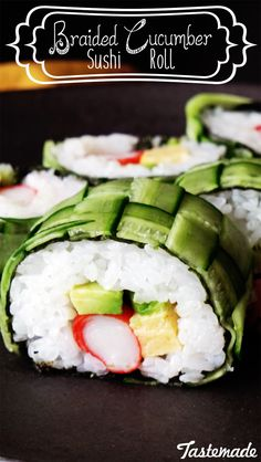 You won't believe how easy this beautiful sushi roll is. Just weave cucumber strips, assemble the rice and ingredients inside, and roll it up! You'll have a restaurant style sushi roll that's sure to impress.