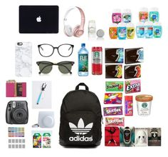 """What is in my backpack"" by emie-lamontagne ❤ liked on Polyvore featuring adidas Originals, Casetify, Chloé, Ray-Ban, Lavanila, Royce Leather and Coven"