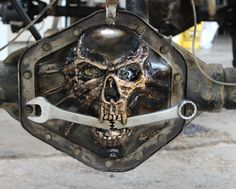 custom hand made tig welded metal skull gm 14 bolt differential cover 3D  give a call to have one made custom rat rod truck chevy 208-262-1295